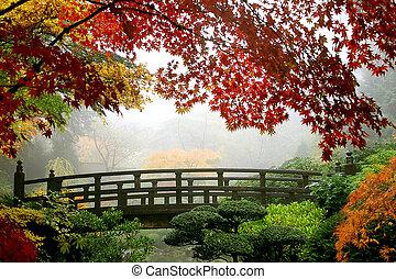 Misty Fall Morning in Portland's Japanese Gardens