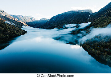Misty Fjords, roads, ad mountains in Norway