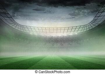 Misty football stadium under spotlights - Digitally ...