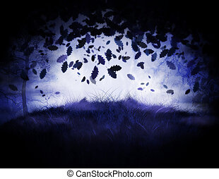 Misty forest - Dark misty forest at night time illustration.