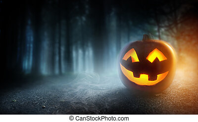 Misty Halloween Evening Background With A Pumpkin