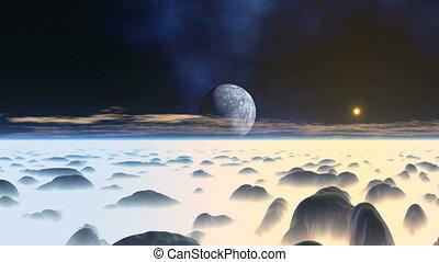 Misty Hilly Alien Planet