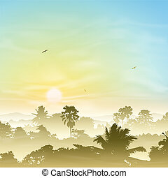 Misty Landscape - A Misty Landscape with Palm Trees and...