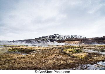 Misty landscape from Iceland
