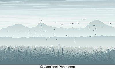 Misty landscape with birds in sky.