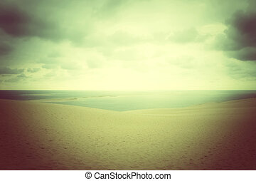 Misty landscape with sand dunes and sea