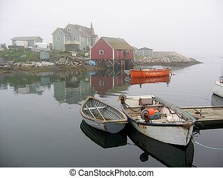 Misty Morning Boats at Peggys Cove