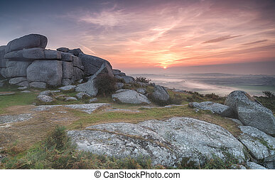 Misty Morning - Early morning fog and mist at Helman Tor...