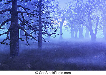 A mist settles over a forest on an early spring morning - 3D render with digital painting.