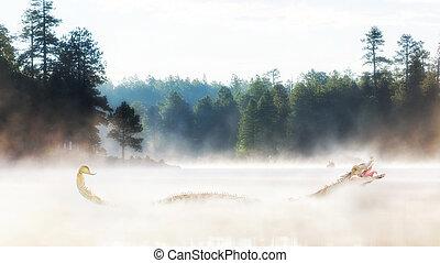 Misty Morning Lake at Sunrise - Scary monster in misty lake...