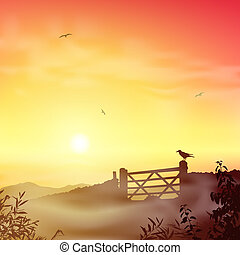 Misty Morning Landscape - A Misty Landscape with Farm Gate...