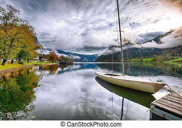 Misty morning on the lake Grundlsee Alps Austria Europe