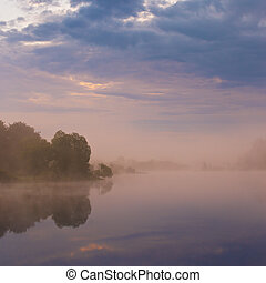 Misty morning on the lake.