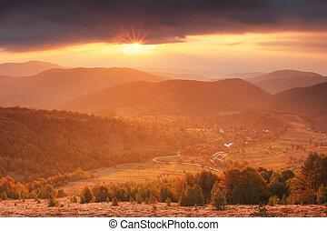 Autumn valley in mountains