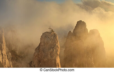 Misty Mountains at dawn in the sun