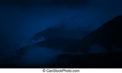 Misty Mountains At Night