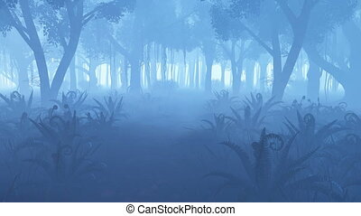 Misty night forest with fern