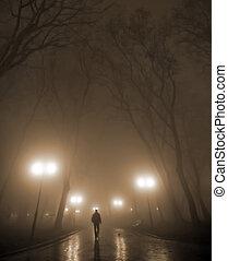 misty night - Silhouette of a man wearing a hat in the misty...