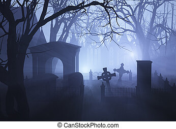 3D render depicting an overgrown neglected cemetaryin misty twilight.