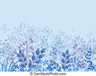 Misty plants horizontal seamless pattern border background
