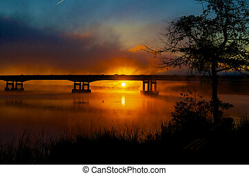 Misty Red Sunrise Silhouette