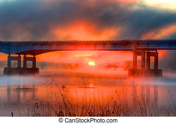 Misty Red Sunrise