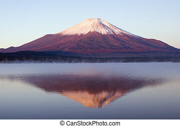 Misty Reflections - Reflections of Mount Fuji in the misty ...