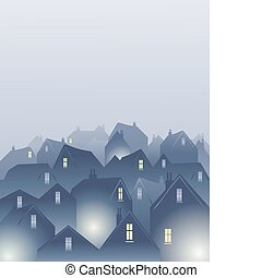 misty rooftops - an illustration of rooftops in a city on a...
