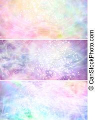 Misty sparkling pastel banners x 3