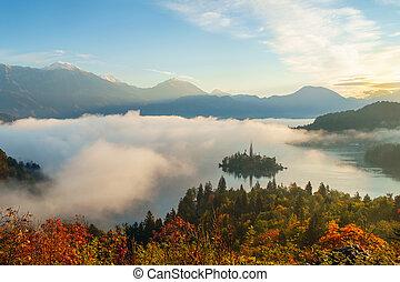 Misty sunrise on the lake Bled