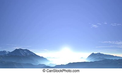 Misty Sunrise over a Mountain Valley