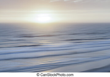 Misty sunrise over Atlantic ocean at Florida coast, aerial...