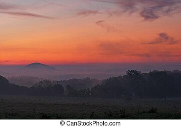 Misty Sunrise - View of a sunrise in a beautiful European ...