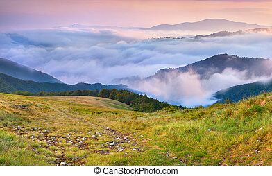 Misty sunset in the mountains.