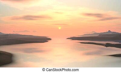 Misty Sunset Over Mountain Lake