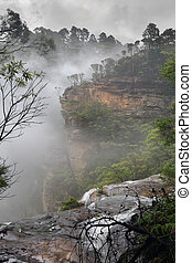 Views of the water as it passes over the ledge before the large drop into the valley below, this section known as Upper Wentworth Falls.