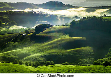 Misty valley in Tuscany at sunrise