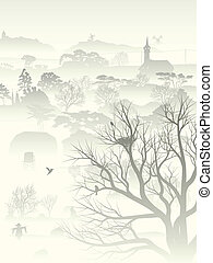Misty valley with nest in tree.