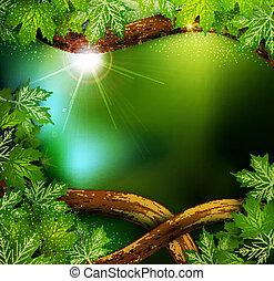 mistyczny, liście, drzewa, wektor, las, tło, tajemniczy