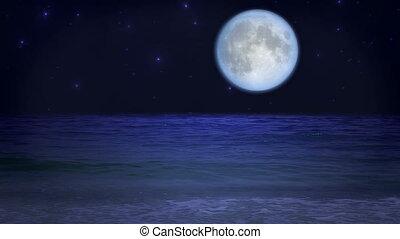 mistyczny, plaża, księżyc