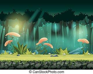 mistyczny, seamless, ilustracja, wektor, las, poziomy