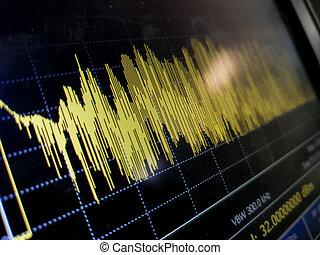 misura, risultati, frammento, lcd, analizzatore, spettro, ...