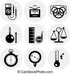 misura, vettore, nero, icone
