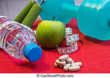 misurazione, appartamento, concetto, mela, &, disposizione, vitamina, -, nastro, mano, acqua, fondo, idoneità, fresco, minerale, dumbbell, rosso, presa