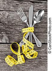 misurazione, backgroun, forchetta, cucchiaio legno, nastro, ...