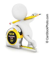 misurazione, bianco, 3d, nastro, persone