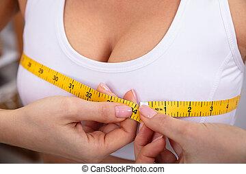 misurazione, donna, nastro, lei, misura