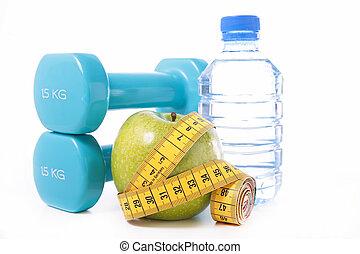 misurazione, dumbbell, nastro, mela
