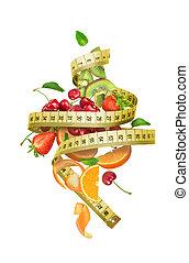 misurazione, intorno, frutta, nastro, fondo, involvere, bianco