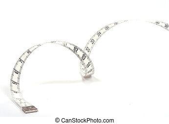 misurazione, spirale, isolato, nastro, fondo, bianco